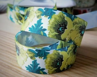 1 inch (25mm) Chartreuse Poppies Grosgrain Ribbon for hairbows, giftwrap ribbon, grosgrain ribbon--Sold by the yard