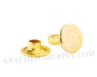 8mm (cap diameter) x 8mm (post length) Yellow Gold Rivets. 5, 10, or 25 PACK. US Shipping, bulk discounts!