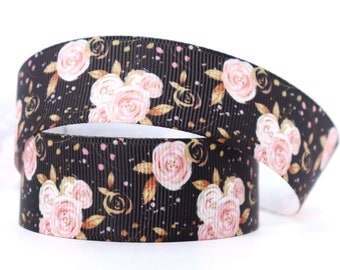 1 inch (25mm) Golden Roses Grosgrain Ribbon, Ribbon for hairbows, giftwrap ribbon, grosgrain ribbon--Sold by the yard.