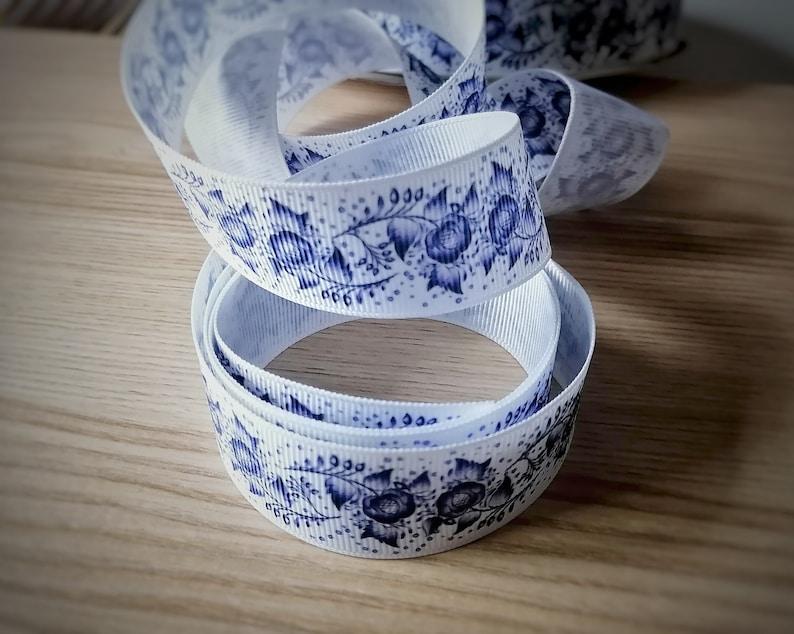 wide Blue Jacobean Grosgrain Ribbon 25mm 1