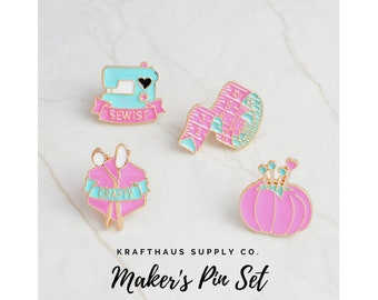 Maker's Pin Set of 4, crafty, sewing, sewing machine, scissors, pincushion, sewing jewelry, gift for sewist