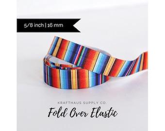 Serape Elastic, Mexican blanket, stripe, Mexican Stripe Elastic, 5/8 inch (16mm), Fold Over Elastic, FOE-- Sold by the yard. BLUE