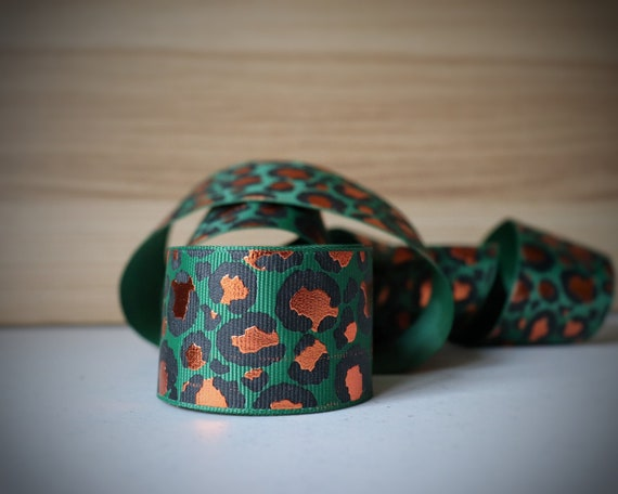 38mm Green with Copper Foil Lux Leopard grosgrain ribbon--Sold by the yard. 1.5 inch