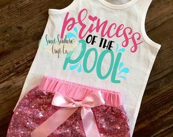 Princess of the Pool,Mermaid Hair,Toddler Tank Top,Girl Racerback Tank,Girl Mermaid Shirt,Beach shirt, Vacation Shirt,Swimming