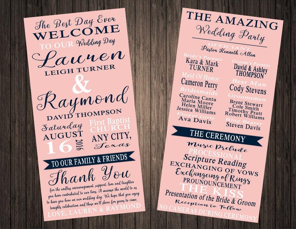 Classic Printable Wedding Program4X8 Wedding