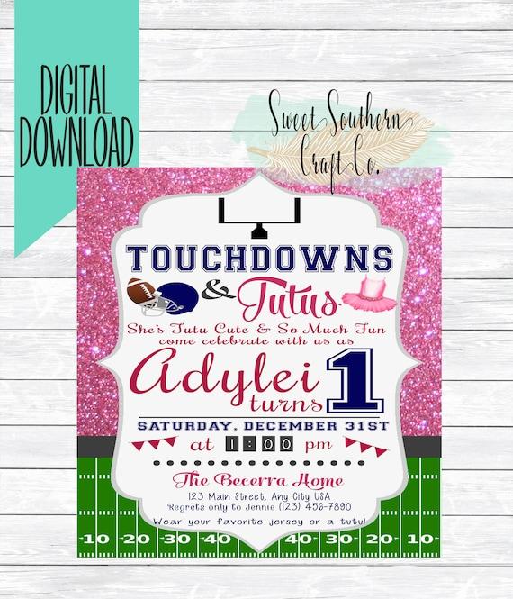 Touchdowns Tutu S Birthday Invitation PRINTABLE DIY 1st Etsy