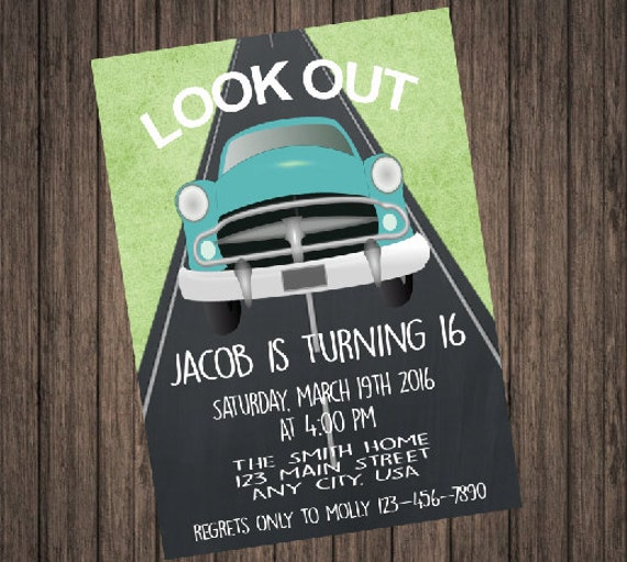 boy 16th birthday invitation etsy