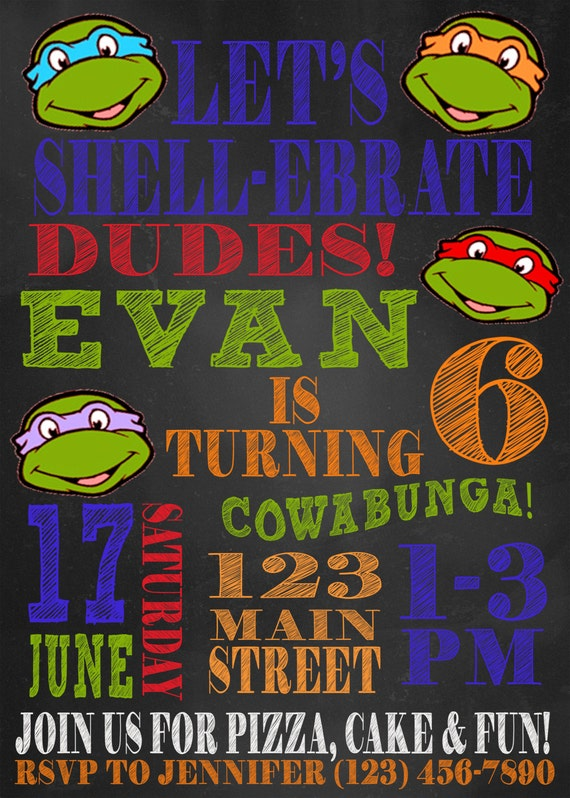 photo relating to Ninja Turtles Birthday Invitations Printable identify Ninja Turtle Birthday Invitation 5x7 Printable
