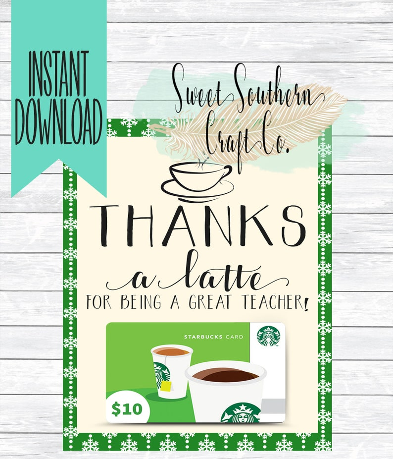picture about Thanks a Latte Christmas Printable identify Immediate Obtain*Owing a latte Espresso Keep Reward Card Xmas Printable,Instructor Appreciation,Finish Of Yr,Instructor Xmas Reward,Starbucks