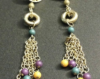 Gold colored,  beaded earrings