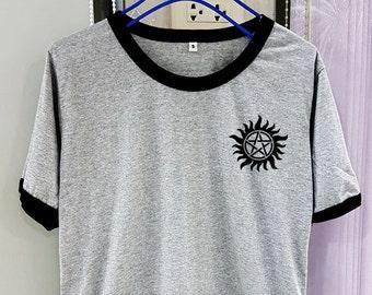 Anti Possession Shirt Tattoo Supernatural Short Sleeve Two Tone White Grey Gray Tee Clothing