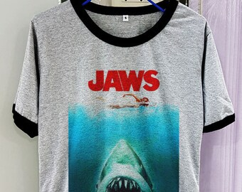 d9a392666a76 Gildan Premium Cotton Jaws Poster Shirt Movie Vintage Hot Short Sleeve Two  Tone Grey Gray Tee Clothing