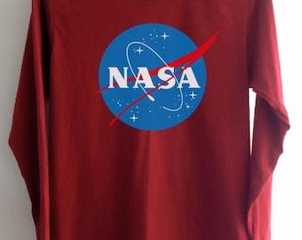 eeabd937 Nasa Shirt Clothing Logo Crimson Red Women Tshirt Tee Long Sleeve T-Shirt  SMLXLXXL