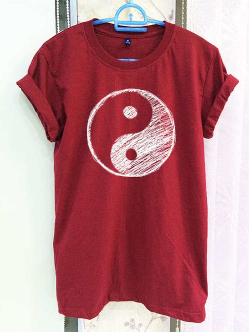 Yin Yang Shirt Clothing Symbol Tumblr Quote Slogan Crimson Red Etsy