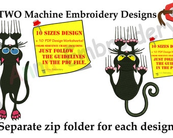 Halloween Black Cat Embroidery Design, Scaried Black Kitty,Cute Kitty Pattern,Instant Download
