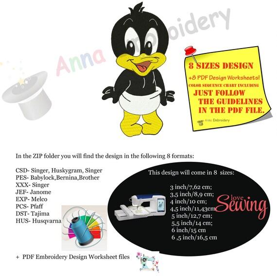 Pato de diseño de bordados dibujos animados de pato donald | Etsy