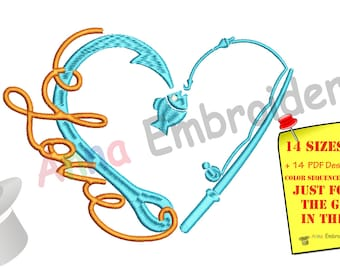 Fishing Embroidery Design-Love Fishing Design-Fishing Hook Embroidery-Machine Embroidery Patterns-Instant Download-PES