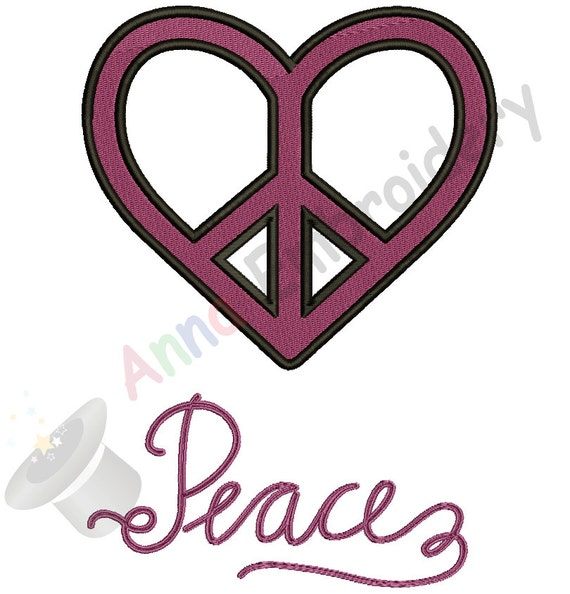 Heart Peace Sign Embroidery Design Etsy