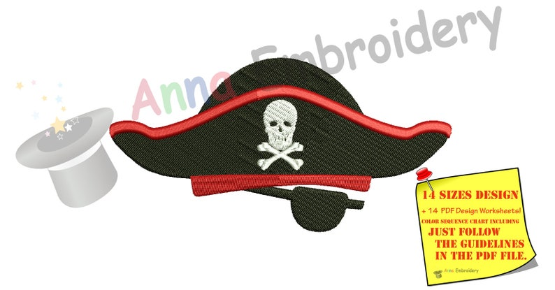 Pirate Hat Design | Pirate Hat Embroidery Design Halloween Design Machine Etsy