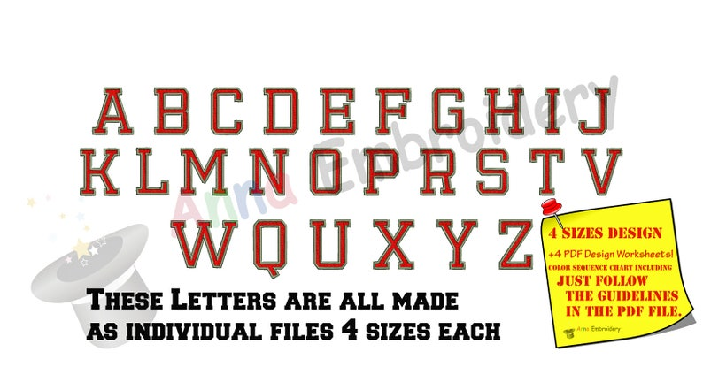 Alphabet Monogram Font Embroidery Design-Sport High School Team Players  Font Embroidery-Capital Letters -Fonts design-Instant Download-PES