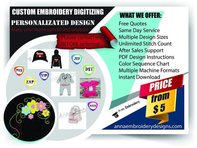 Custom Embroidery Digitizingpersonalized Embroidery Etsy