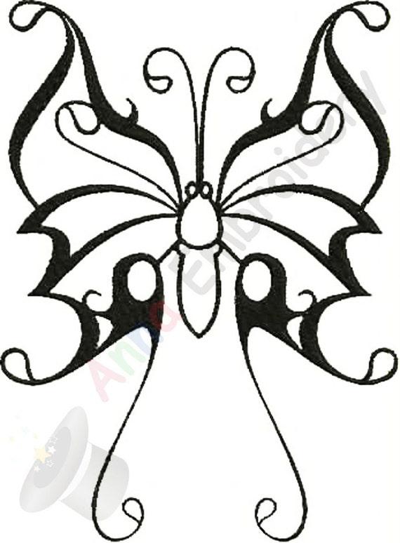 Mariposa máquina del bordado diseño mariposa tribal bordado | Etsy