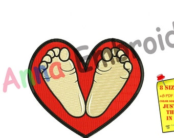 Baby feet embroidery design, baby feet machine embroidery, baby feet heart design,Newborn embroidery design,8 sizes design,INSTANT DOWNLOAD