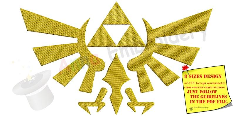 Hylian Crest machine embroidery design,Goddess Hylia,Goddess crest,Royal  crest,filled stitch,machine patterns,INSTANT DOWNLOAD,4x4 5x7 6x10