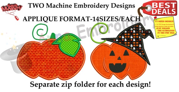 Halloween Pumpkin Embroidery Applique Design-Fall Autumn Applique-Jack o/'lantern Embroidery Patterns-Embroidery Pack-Instant Download-PES