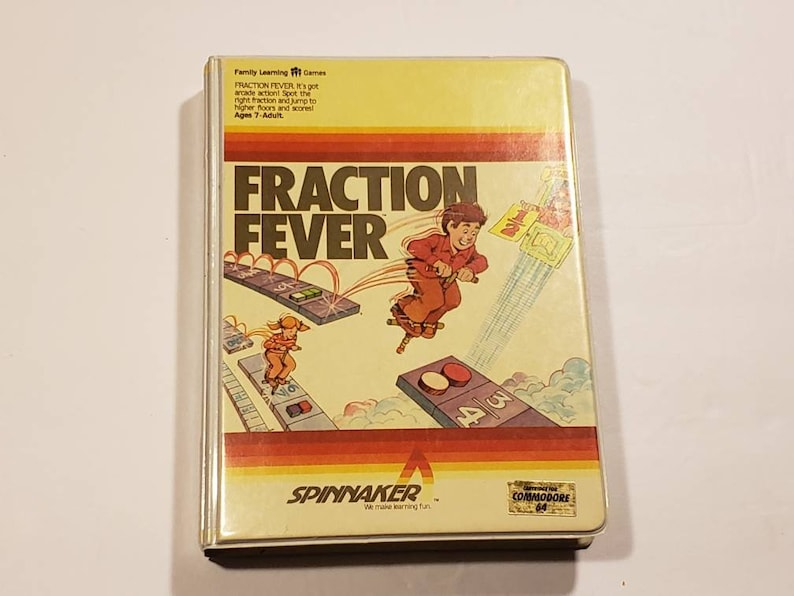 Vintage FRACTION FEVER Commodore 64 (C64) Game Complete In Box RARE  (Spinnaker)
