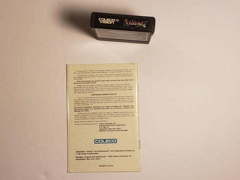 Coleco Vision Venture ColecoVision Game w Manual