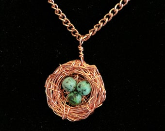 Mothers Necklace, Bird Nest Necklace, Three Bird Nest, Copper Jewelry, Gift for her, Gift for Mother To Be, Gift for Mom, Family Necklace