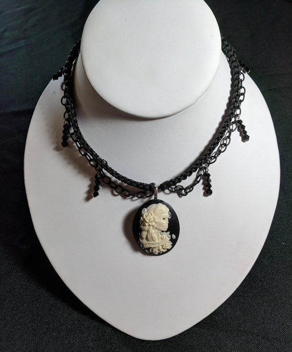 Velvet Choker with Skeleton Woman Lady Cameo -Victorian Halloween Goth Costume Choose Color and Finish