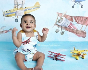 Navy Blue Airplane Seersucker Romper Custom Boys