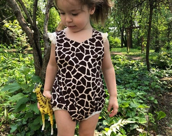 15b231195 Giraffe Romper | Animal print toddler baby playsuit | Baby romper | photo  outfit | bithday outfit | costume | dress up safari