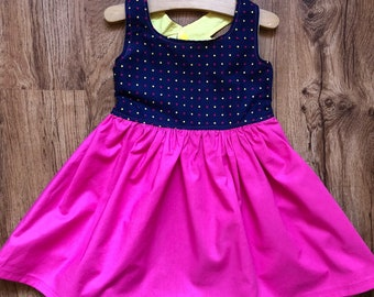 3 T | Pink Toddler Dress | Sunshine Dress | Cotton Pink Outfit | Polka Dot Dress | Yellow Pink | Summer Girl Outfit | Fashion | Girl