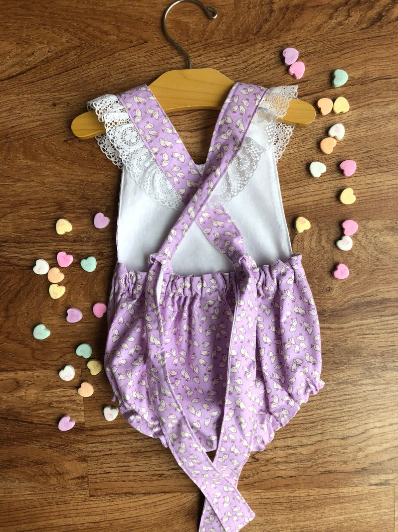 01095c8466 Lavender purple easter Romper Chick Birthday playsuit
