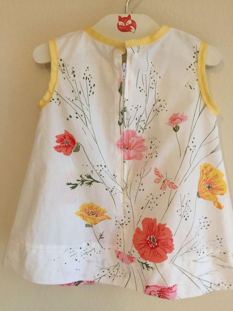 Floral Spring Summer Dress Vintage cotton Baby Dress Cotton Sundress Summer Sundress 6-9 months baby dress classic Girl |