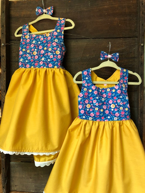 07362f2f7c3 2T 3T yellow blue floral Dress Toddler Girl Country Dress