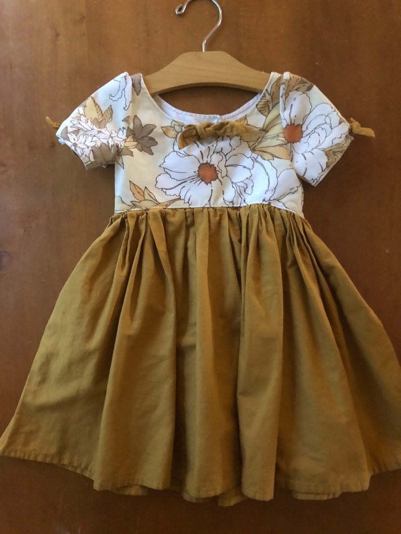 Mustard Yellow Vintage Flower Dress Floral Dress Toddler Outfit Fall 3T Dress yellow floral bow dress Birthday Autumn Dress