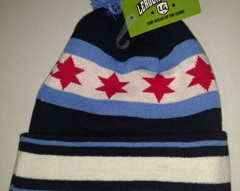 Chicago Flag Knit Pom Hat 7c83888e4e
