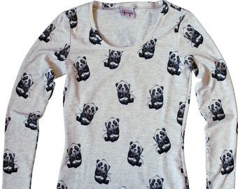 MAKONIA Longsleeve Women Panda Naturalwhite Grey Asia