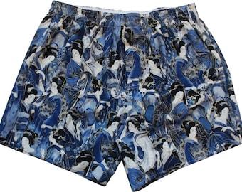 Boxershorts Ushioda - Handmade, Cotton, Japanese/ Geisha Print, Blue, MAKONIA