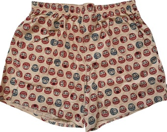 Boxershorts Daruma - Handmade, Cotton, Japanese/ Daruma Print, Samurai, MAKONIA