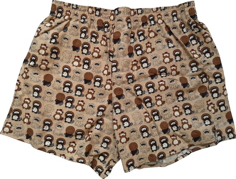 Boxershorts Tanuki  Handmade Cotton Japanese/ Tanuki Print image 0