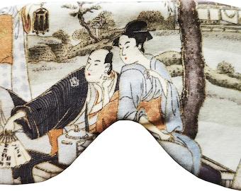 MAKONIA Sleepingmask different Motives - Cotton Silk Handmade Geisha Wave Tanuki Crane Samurai