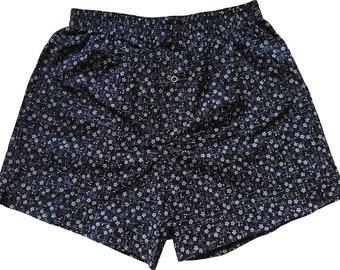 Boxershorts Sakura - Handmade, Cotton, Japanese, Cherryblossom Print, Blue, MAKONIA