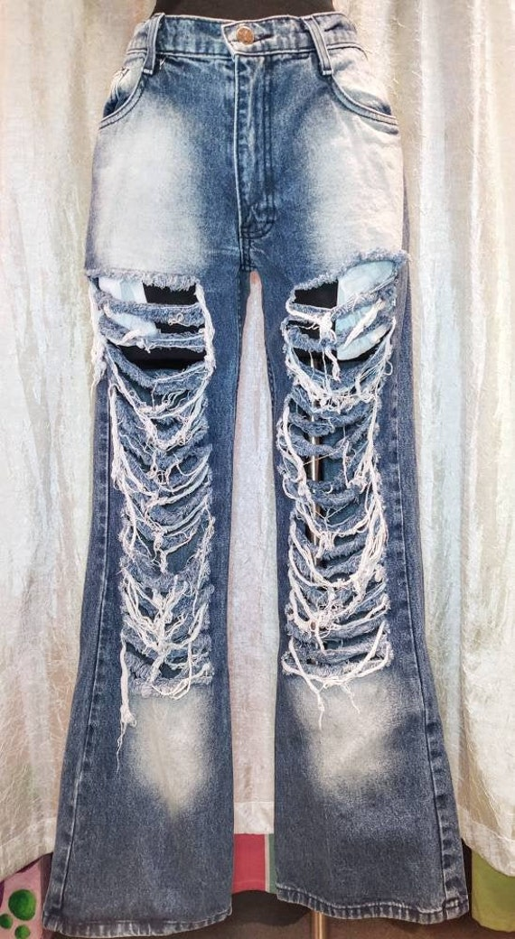 Distressed Vintage Ripped Flare Jeans