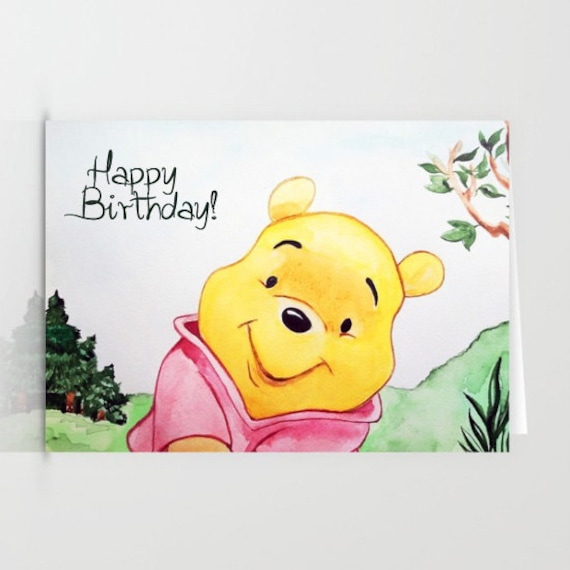 Winnie The Pooh Happy Birthday Card Greeting Card For Any Etsy