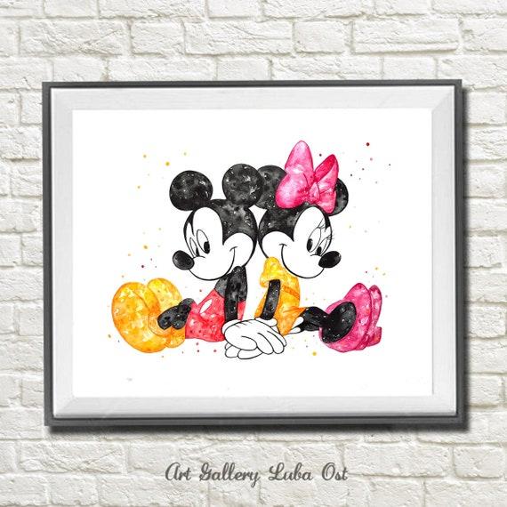 Wood print Mickie Mouse Watercolor Print Black /& white Mickie Print Nursery Wall Decor Art Art gifts Disney poster Disney art